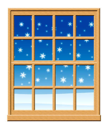 panes: Window with snow falling outside. Stock Photo