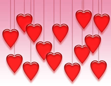 Shiny red hearts hanging from strings on a pink and white background.