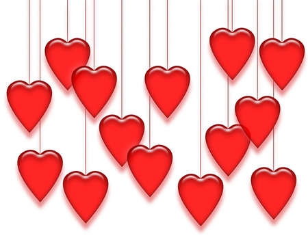 Shiny red hearts hanging from strings.