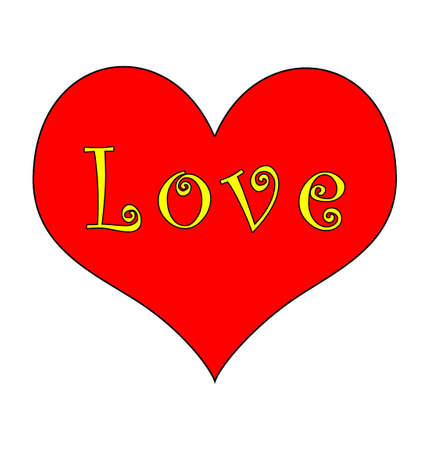 Red heart, love in yellow groovy text. Stock Photo