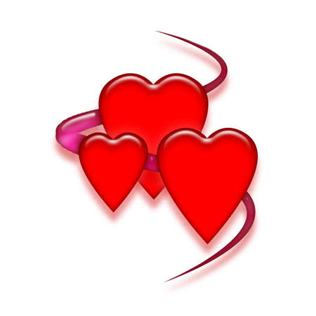 Three shiny red hearts with purple ribbon on white background. Reklamní fotografie