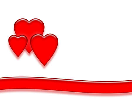 Three red shiny hearts with red ribbon on white background. Reklamní fotografie