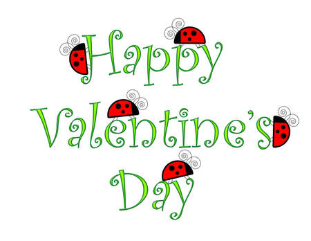 Happy Valentines Day greeting with ladybugs on the text. Reklamní fotografie