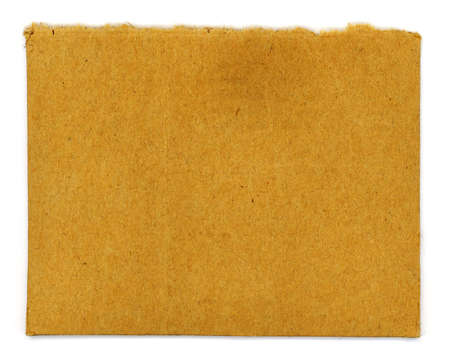 rectangle: Ripped and brown rectangle of cardboard paper.
