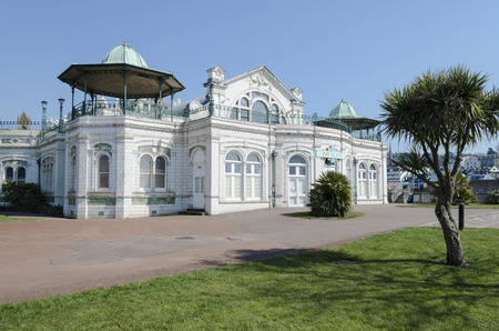 old mercury: Torquay Pavilion seen before redevelopment. The Pavilion is built on a concrete platform weighing some 1,000 tons, on land which is partly reclaimed from the sea. The facing stoneware is Doultons carrara enamelled.