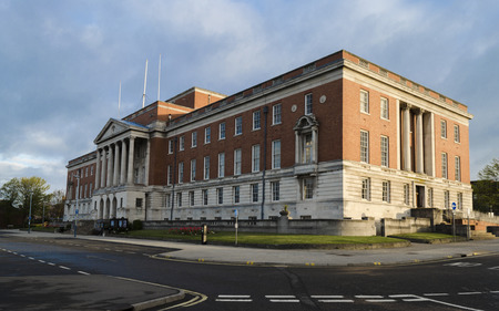 chesterfield: Chesterfield town hall seen at early monring sunrise Stock Photo