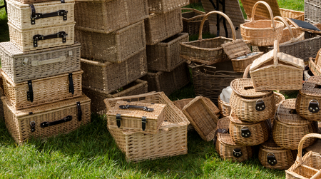 A selection of wicker hampers and picnic baskets