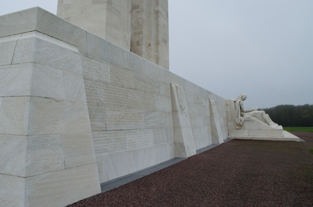 The Canadian National Memorial at Vimy Ridge on a grey autumn day. The memorial is for First World War Canadian dead and missing who died in France.