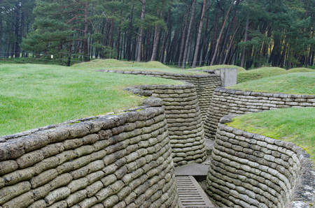 Reconstructed trenches made using concrete moulded sand bags at The Canadian National Memorial at Vimy Ridge on a grey autumn day. Stock Photo