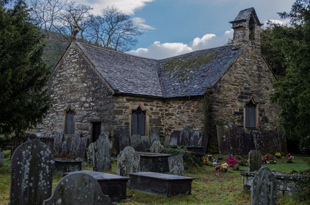 The historic St Michaels church and grave yard on the edge of the North Wales village Betws y Coed