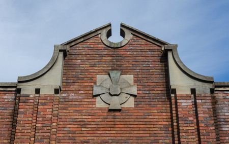 An unusual gable on a brick building in Cheshire. Stock fotó