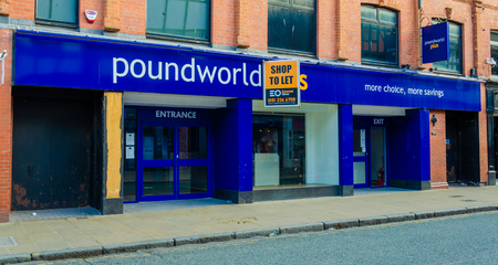 Chester, UK: Aug 6, 2018: Vacant shop premises in Chester which were previously occupied by Poundworld Plus. They entered into administration in June 2018. All stores closed after rescue talks failed.