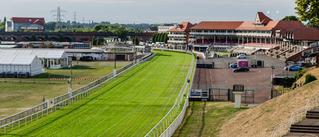 Chester, UK: Aug 6, 2018: Chester racecourse is the oldest horse racing venue in the UK. Editorial