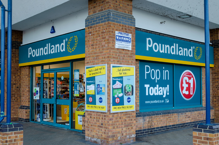Flint, UK: May 22, 2018: Poundland is a chain of bargain-priced general goods stores. The chain is owned by South African company Steinhoff International.