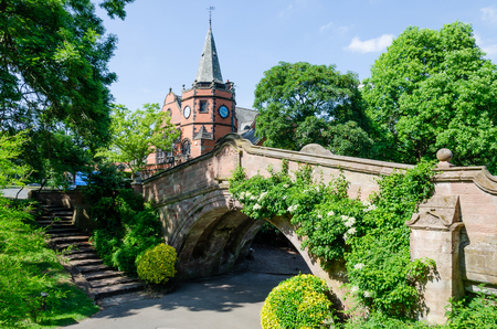 Port Sunlight, UK: June 6, 2018: A model village built to house workers of the adjacent Lever Bros soap factory.The Dell is a public park area.
