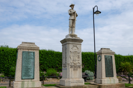Rhyl, UK: June 3, 2018: The Garden of Remembrance in Rhyl is dedicated to soldiers from Rhyl who have sacrificed their lives in both World Wars and other conflicts around the world.