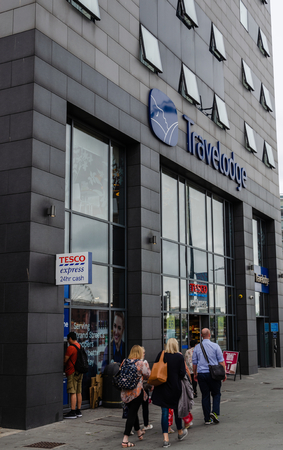 Liverpool, UK: Aug 3, 2018:Travelodge operate a chain of budget hotels. This one in Liverpool shares a building with Tesco supermarkets.