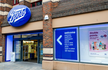 Liverpool, UK: Aug 3, 2018: Boots is a chain of pharmacy stores in the UK which has shops in most town and city centres such as this one in Liverpool