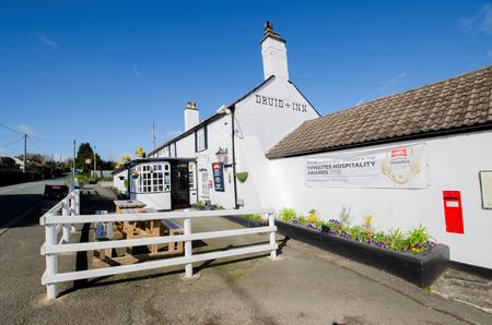 Gorsedd, UK - Mar 25, 2019: The Druid Inn is a typical, local community pub. It was a 2018 winner iin Thwaites Hospitality Awards.