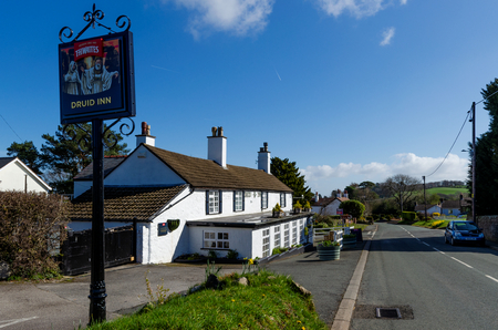 Gorsedd, UK - Mar 25, 2019: The Druid Inn, Gorsedd is a typical, quaint, rural country pub which is part of the local community. Editorial