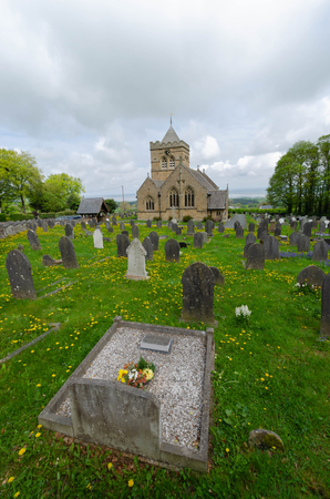 Halkyn, UK - May 3, 2019: The Church of St Mary the Virgin, Halkyn  is an active Anglican parish church in the diocese of St Asaph. It was designed by the Chester architect John Douglas and paid for by the 1st Duke of Westminster.