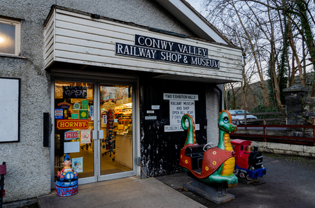 Betws-y-Coed, UK - Feb 2, 2019: The Conway Valley Railway Shop & Museum in Betws-y-Coed, North Wales. First opened in the 1970s, this attraction is a popular tourist destination.