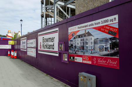Llandudno, UK - May 6, 2019: Redevelopment works underway.The site of the historic Tudno Castle Hotel is earmarked to be a Premier Inn & other businesses. Editorial