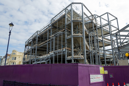 Llandudno, UK - May 6, 2019: Redevelopment works underway.The site of the historic Tudno Castle Hotel is earmarked to be a Premier Inn & other businesses. Editoriali