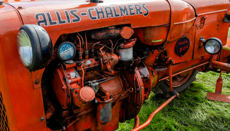 Llandudno, UK - May 6, 2019: The Llandudno Transport Festival 2019 saw a large turnout of vintage and retro agricultural tractors. Llantransfest is held alongside the annual Victorian Extravaganza.