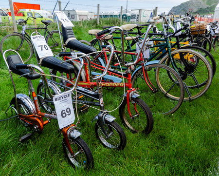 Llandudno, UK - May 5, 2019: The Llandudno Transport Festival 2019 saw a large turnout of vintage and retro bicycles. Llantransfest is held alongside the annual Victorian Extravaganza.