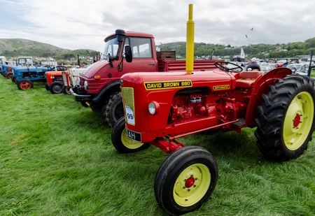 Llandudno, UK - May 5, 2019: The Llandudno Transport Festival 2019 saw a large turnout of vintage and retro agricultural tractors. Llantransfest is held alongside the annual Victorian Extravaganza.