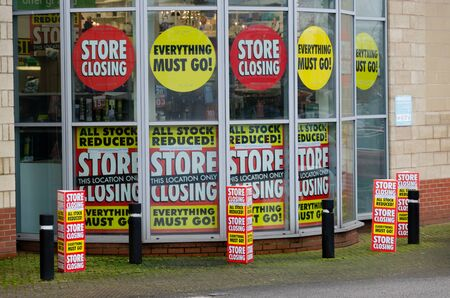 Moldl, UK: Jan 22, 2020: The last Homebase store in North Wales has started the process of closing down. Homebase are a struggling British home improvement and garden centre chain.