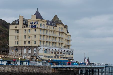 Llandudno, UK: Jan 25, 2020: The Grand Hotel is owned by Britannia Hotels since 2004. Once the largest hotel in wales, it occupies a commanding site at the foot of Great Orme, adjacent to the pier. Editorial