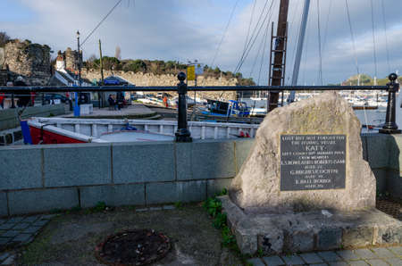 Conwy, UK : Jan 25, 2020: A memorial plaque on the quayside is dedicated to the missing crew of fishing vessel Katy which left Conwy on the 16th January, 1994.