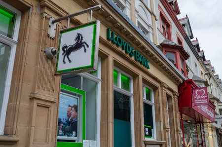 Llandudno, UK: Aug 27, 2019: Loyds Bank have a branch office which is situated on the corner of Mostyn Street and Trinity Square. Seen here outside opening hours.