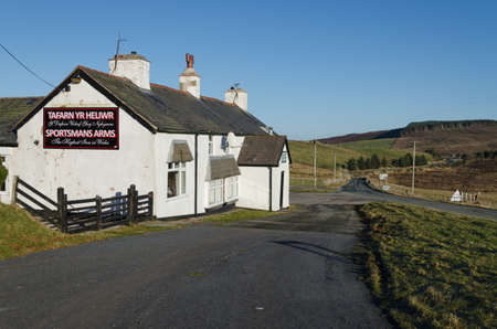 Denbigh, North Wales, UK: Jan 5, 2017: Situated in a remote position on the Denbigh Moors, the Sportsmans Arms which was built in the 16th century, is reputed to be the highest pub in Wales.