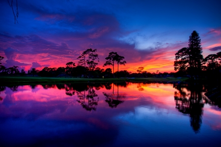 Sunset over a Pond photo