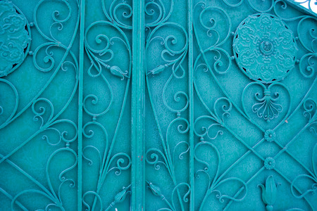 old fashioned sepia: Russian Metal Gate in Blue