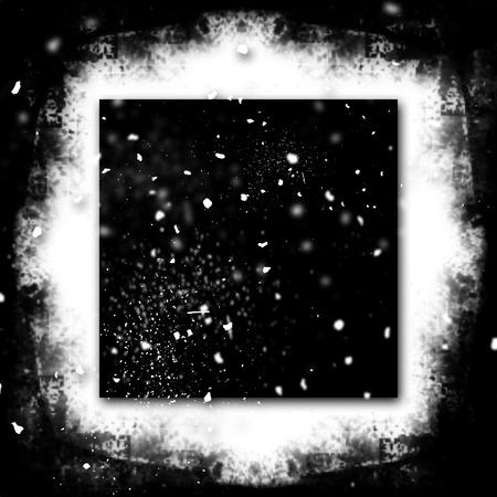 grunge photo frame: Exploding Grunge Photo Frame Black and White Particles