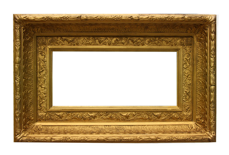 Historic old style gold gilded photoframe isolated on white photo