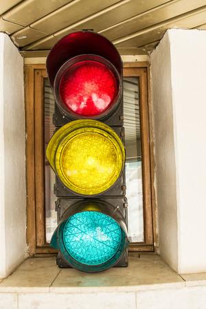 unlit: Traffic lights in an interior coffee shop