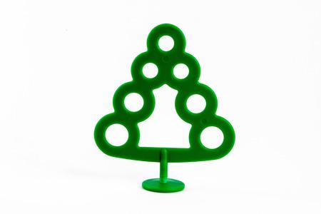 plastic christmas tree: Green Plastic Christmas Tree isolated on white Stock Photo
