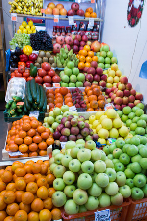 veg: Various fruits on display at a fruit and veg stall Stock Photo