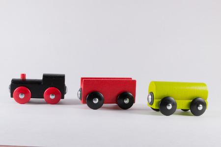 nonworking: Wooden Toy train Set unconnected - a conceptual broken team