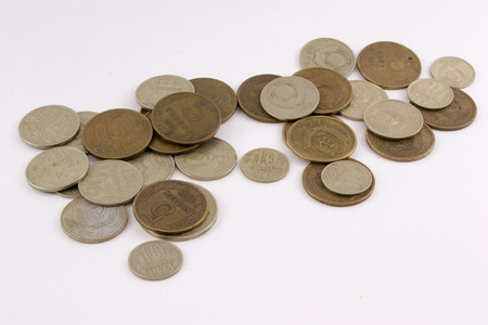 roubles: A pile of old Russian coins roubles and kopecks - isolated on white background