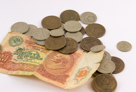 roubles: A pile of old Russian coins and notes roubles and kopecks - isolated on white background