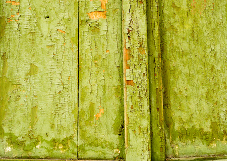 fading: Green fading paint with flakes and peeling on old wood