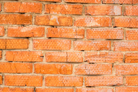 masonary: Industrial red brick wall with bricks and mortar cement