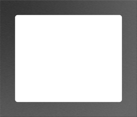 A metal photograph frame in brushed metal on white no shadow photo