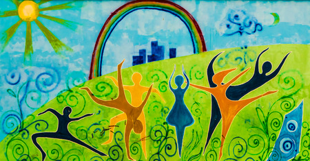 depicting: Public art depicting dancers, the sun and moon and a rainbow covered city